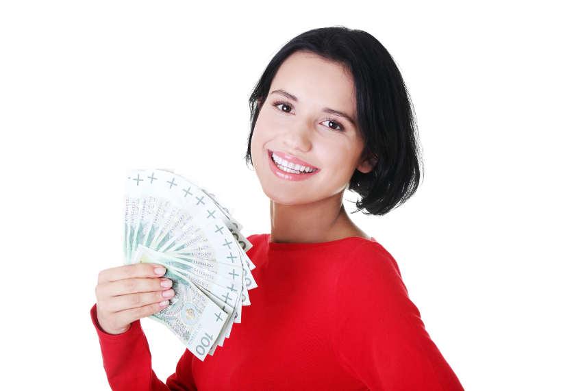 kobieta z pieniędzmi
